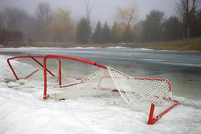 Hockey Net On Frozen Pond Poster