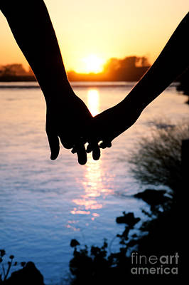 Holding Hands Silhouette Poster
