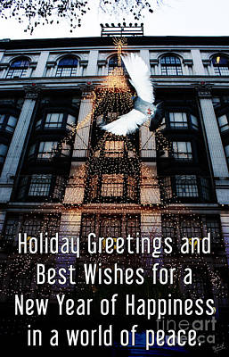Holiday Greetings And Best Wishes For A New Year Of Happiness In A World Of Peace Poster by Nishanth Gopinathan