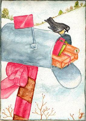 Poster featuring the painting Holiday Mail by Paula Ayers