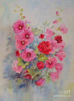 Poster featuring the painting Hollyhocks And Red Roses by Beatrice Cloake