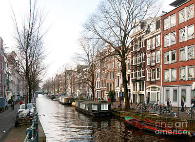 Homes Along The Canal In Amsterdam Poster by Carol Ailles