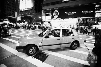 Hong Kong Red Taxi At Night On Nathan Road Downtown Kowloon Hong Kong Hksar China Poster