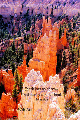 Hoodoos Of Farieland Canyon With John Muir Quote Poster