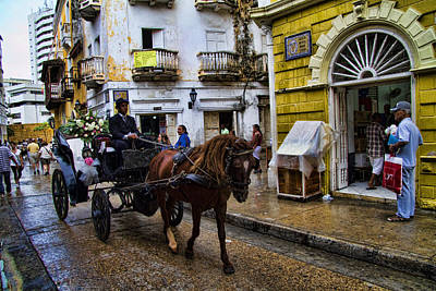 Horse And Buggy In Old Cartagena Colombia Poster