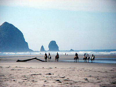 Horse Riders On Canon Beach Oregon Poster