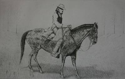 Poster featuring the drawing Horseman by Stacy C Bottoms