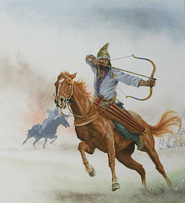 Horsemen From The Steppes Poster by English School