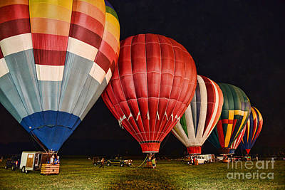 Hot Air Balloons Night Launch Poster by Paul Ward