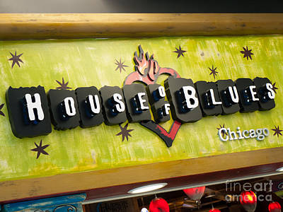 House Of Blues Sign Chicago Poster by Paul Velgos