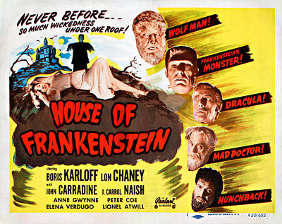 House Of Frankenstein, 1950 Re-issue Poster by Everett