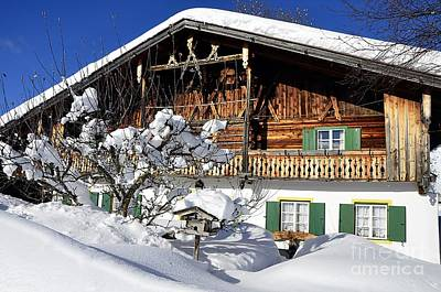 House Under Heavy Snow In Alps Poster