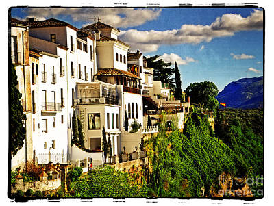 Houses On The Cliff In Ronda Spain Poster by Mary Machare