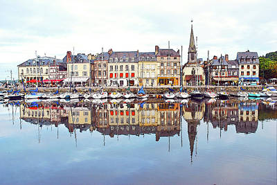 Houses Reflection In River, Honfleur Poster