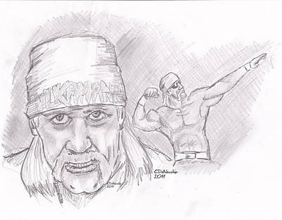 Poster featuring the drawing Hulk Hogan- Immortal by Chris  DelVecchio