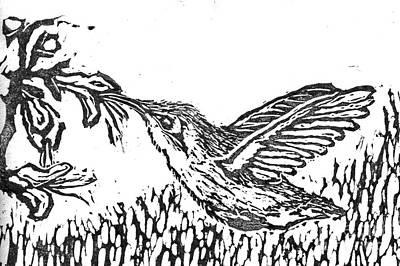 Hummingbird  Block Print Poster by Ellen Miffitt