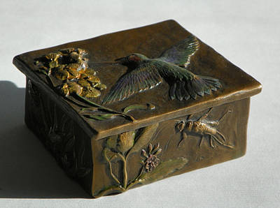 Hummingbird Box With Painted Patina - Stonefly Side Poster