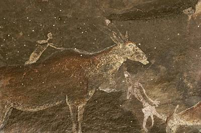 Hunters And Animals In A Cave Painting Poster