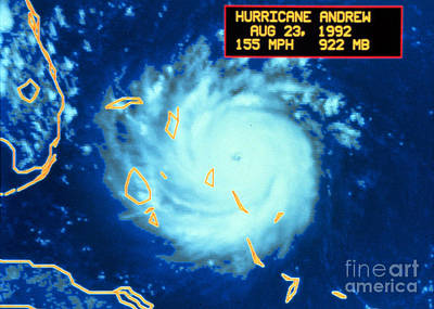 Hurricane Andrew, Maximum Intensity Poster by Science Source