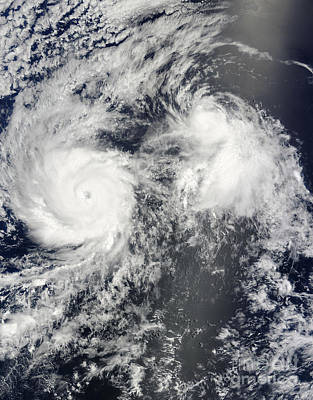 Hurricane Felicia And Tropical Storm Poster by Stocktrek Images