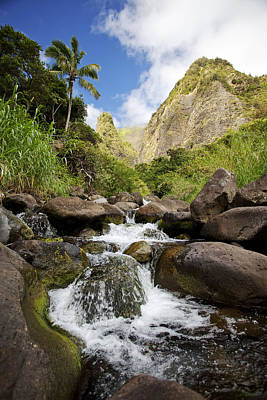 Iao River Valley Waterfall Poster