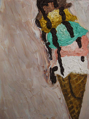 Poster featuring the painting Ice Cream Dripping And Falling Over by M Zimmerman