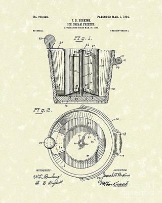 Ice Cream Freezer 1904 Patent Art Poster