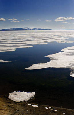 Poster featuring the photograph Ice On Yellowstone Lake by J L Woody Wooden