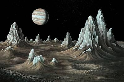 Ice Spires On Callisto, Artwork Poster by Richard Bizleycallisto Engineering Expertise For Space Communications