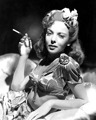 Ida Lupino, Portrait Of Her Smoking Poster by Everett