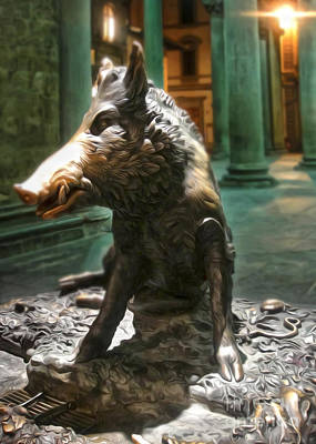 Il Porcellino - Florence Italy Boar Statue Poster by Gregory Dyer