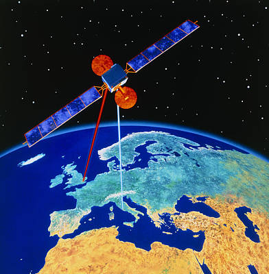 Illustration Depicting A Communications Satellite Poster