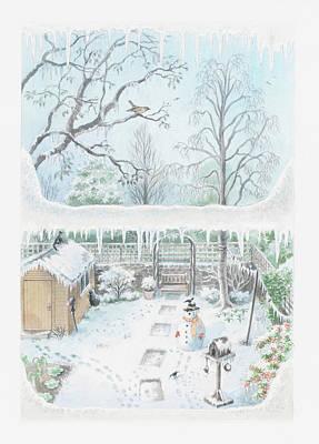 Illustration Of A Garden In Winter Seen Through A Window Poster