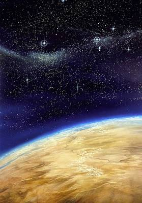 Illustration Of Part Of The Earth On A Starfield Poster by David Ducros
