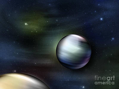 Illustration Of Planets In Outer Space Poster by Vlad Gerasimov