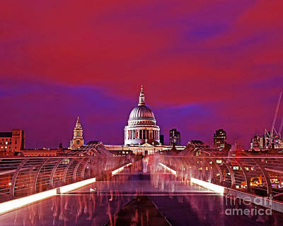 Image St Pauls From Millennium Bridge London At Night Poster by Chris Smith