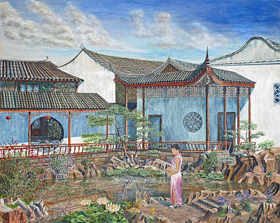 Poster featuring the painting In A Chinese Garden by Anthony Lyon