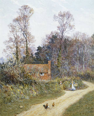 In A Witley Lane Poster by Helen Allingham