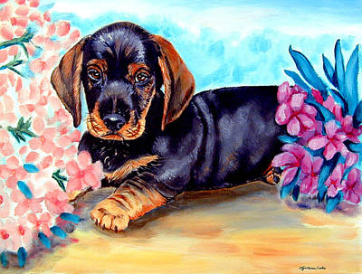 In Mom's Flowers - Dachshund Poster by Lyn Cook