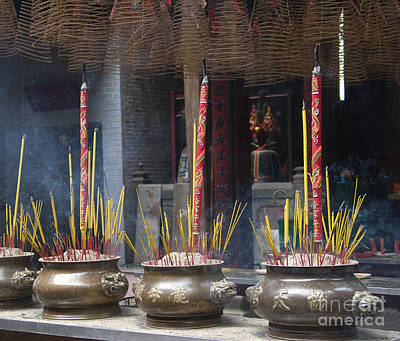 Incense Burning In The Thien Hau Temple Poster by David Buffington