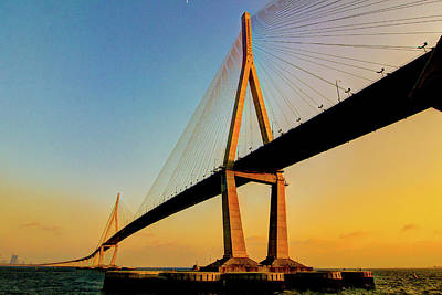 Incheon Bridge With First 2012 Sunset. Poster by Tokism