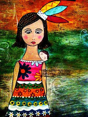 India Con Bebe Poster by Lucia Meza