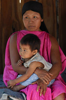 Indigenous Guarani With Your Child. Department Of Santa Cruz. Republic Of Bolivia. Poster by Eric Bauer