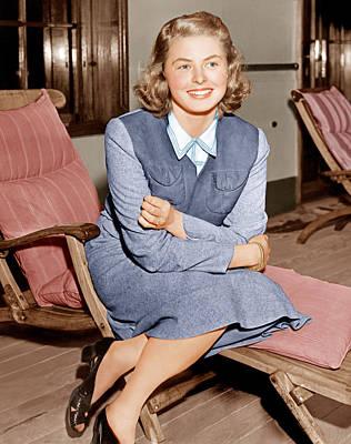 Ingrid Bergman Lounges On Ship Deck Poster by Everett