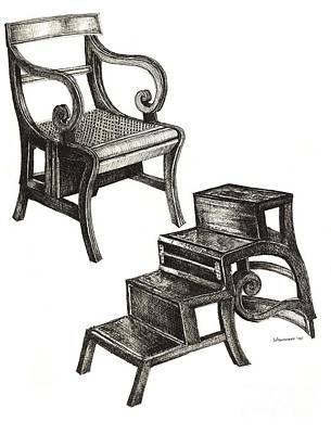 Ink Drawing Of Regency Metamorphic Chair Poster by Adendorff Design
