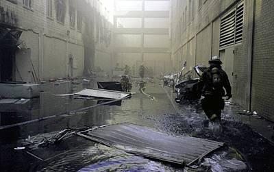 Inside The Damaged Pentagon Firemen Poster