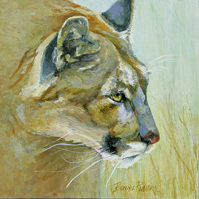 Poster featuring the painting Intense Cougar by Bonnie Rinier