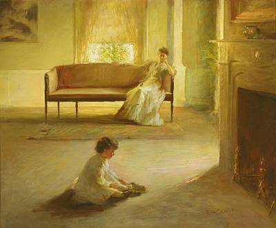 Interior With Mother And Child Poster by Edmund Charles Tarbell