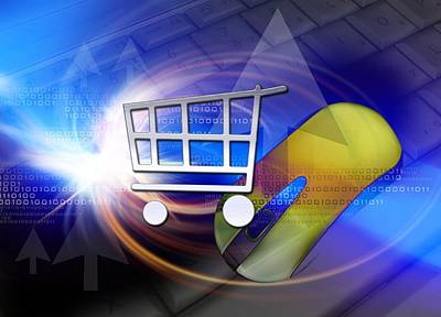 Internet Shopping, Conceptual Artwork Poster by Victor Habbick Visions