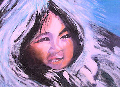 Poster featuring the painting Inupiaq Eskimo Child by Alethea McKee